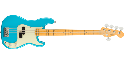 Fender American Professional 2 Precision Bass V, Maple Fingerboard, Miami Blue