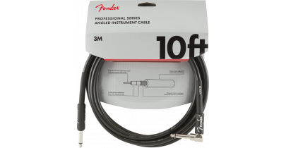 Fender Professional Series Instrument Cable, Straight/Angle 10ft, Black