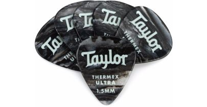 Taylor Premium 351 Thermex Ultra Picks, Black Onyx, 1.5mm, 12-Pack