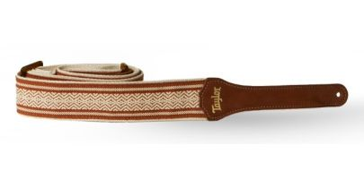 Taylor Strap, White/Brown Jacquard Cotton 2""