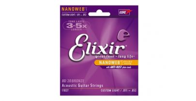 Elixir E11027 Nanoweb 80/20 Bronze Acoustic Guitar Strings, Custom Light, 11-52