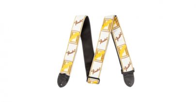"Fender 2"" Monogrammed Strap, White/Brown/Yellow"