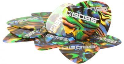 Boss BPK-12-AH, Heavy Celluloid Abalone Picks, 12 Pack