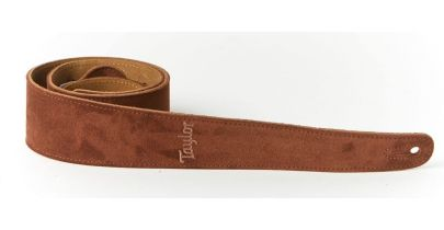 """Taylor Guitar Strap, Chocolate Embroidered Suede 2.5"""""""